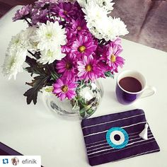 Good morning with @efinik  and her handmade mini clutch  Christina Malle ! ・・・ Goodmorning! @christina_malle_handmade_bags mini clutch for today!  #ss2015#collection#fashion #evileye#mini#clutch#bags #summer#handmade #christinamalle_bags#Greece#madeingreece #greekdesigners #accessories#evileyeproject#greekbloggers