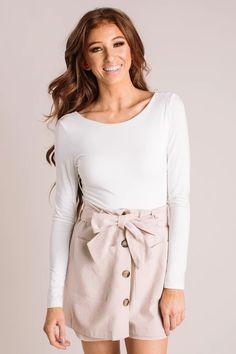 Denise Bodysuit - Morning Lavender White Bodysuit, Little White, Every Girl, Quarter Sleeve, Short Dresses, Scoop Neck, Mini Skirts, Feminine, Sleeves