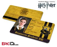 This item can be personalized with your own photo and/or text! View the 'Personalized' version of this Epic ID! This Hogwarts School of Witchcraft and Wizardry Student ID is a fan made concept design