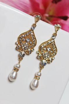 Gold Art Deco Bridal Earrings