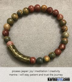 Yoga Beaded Bracelets. Picasso Jasper. Men's Women. Law of Attraction. LOA. Healing Energy Prayer Mantra Spiritual Mala.