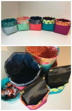 Little quilted buckets - FREE Pattern - Sew Modern Bags Bag Patterns To Sew, Sewing Patterns Free, Free Pattern, Dress Sewing Tutorials, Easy Sewing Projects, Quilting Projects, Fabric Boxes, Vide Poche, Sewing Leather