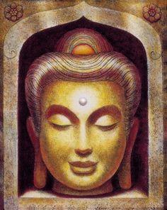Sourire de Bouddha Zen méditation spirituelle par HalstenbergStudio