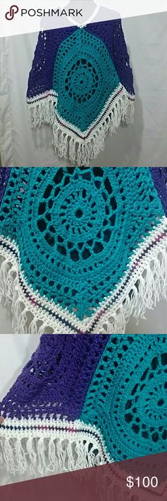 """Hand Crocheted Poncho Boho Festival Hippie Just finished! Vibrant purple and teal squares with a multi accent stripe and white fringe.  Fits a variety of sizes, SML, maybe XL. Measures 27"""" from front point neck opening & 33"""" from shoulder to bottom of fringe. Neck opening 14"""". Can be worn lengthwise too! Great for all year wear! Acrylic yarn, machine washable! Price firm unless bundled. Pictures don't do it justice! Lobax Sweaters Shrugs & Ponchos"""