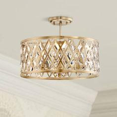 Brighten up a room with the warm satin brass finish on this sparkling, diamond-geometric pattern, clear crystal ceiling light. 16 wide x 12 high. Canopy is 5 wide. Shade is 16 wide x 7 high. Style # at Lamps Plus. Laundry Room Lighting, Kitchen Lighting Fixtures, Ceiling Light Fixtures, Ceiling Lights, Bedroom Lighting, Ceiling Fans, Crystal Ceiling Light, Metal Drum, Ceiling Light Design
