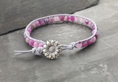 Purple leather and agate bead bracelet, flower button fastener, semi precious Lilac Color, Shades Of Purple, Wrap Bracelets, Beaded Bracelets, Flower Button, Purple Leather, Organza Gift Bags, Agate Beads, Fasteners