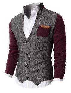 H2H Mens Herringbone Cardigan Sweater of Knitted Sleeves WINE US 2XL/Asia 3XL (KMOSWL015)