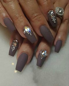 Matte Coffin Nail Design with Rhinestones