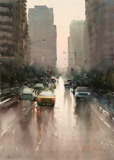 Joseph Zbukvic ~ Street scene (watercolor)