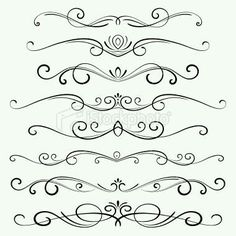 Decorative page dividers. Hi res jpeg included. Scroll down to see… Decorative Ornaments stock vector art 15428106 – iStock Dr Tattoo, Page Dividers, Cursive Alphabet, Quilled Creations, Scroll Design, Arabesque, Free Vector Art, Vector Graphics, Swirls