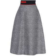 Fendi Knitted Wool and Silk Skirt ($1,430) ❤ liked on Polyvore featuring skirts, grey, silk skirt, gray skirt, fendi, fendi skirt and grey skirt