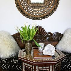 I have been swooning over peacock mirrors ever since I laid eyes on them - I don't remember exactly when. These mirrors were first discovere. Global Decor, Global Home, Morrocan Table, Peacock Mirror, Moroccan Design, Asian Decor, Eclectic Style, Simple Pleasures, Bohemian Decor