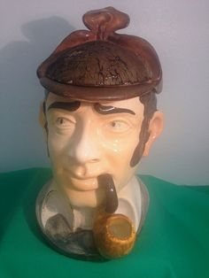 ANTIQUE  COMOY'S OF LONDON FIGURAL SHERLOCK HOLMES CERAMIC TOBACCO JAR ITALY