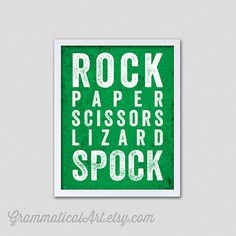 When rock paper scissors is just not enough.. Typographical Print Rock Paper Scissors Lizard by GrammaticalArt, $18.00