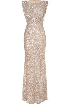 Jenny Packham Soft Gold Sleeveless Sequin Gown