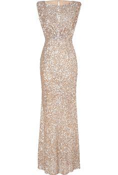 Jenny Packham Soft Gold Sleeveless Sequin Gown - fabulous!