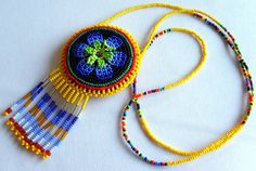 Mexican Huichol Beaded Flower Necklace Pouch by Aramara on Etsy, $16.50