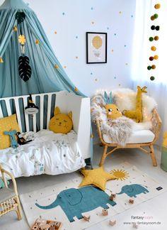Tropic look for children's room - Kinderzimmer Inspiration - Deneme 1 Nursery Room Decor, Kids Bedroom, Baby Boy Rooms, Baby Room, Rooms Ideas, Baby Zimmer, Baby Decor, Girl Room, Toddler Bed