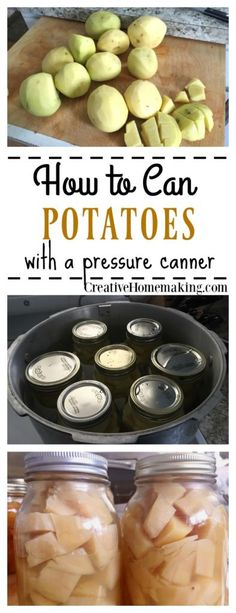 Tomato Gardening For Beginners Canning potatoes. How to can potatoes from the garden. Step by step pressure canning for beginners. - How to can potatoes from the garden. Step by step pressure canning for beginners. Canning Soup Recipes, Pressure Canning Recipes, Canning Tips, Cooking Recipes, Avacoda Recipes, Cooking Fish, Canning Potatoes, Canning Vegetables, Dressings
