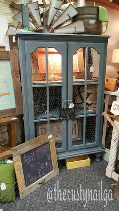 farmhouse pie safe cabinet with chicken wire doors relaxed navy distressed chalk painted