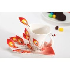 Enamel Peacock Cup Set, Red, link doesn't work but love this