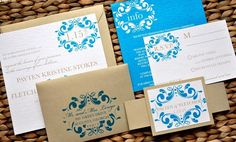 Melissa Wedding Invitation Suite with Belly Band - Teal, Gold and Ivory $4.49/suite #stationery