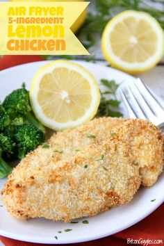 Air Fryer Lemon Chicken - Chicken tenderloins are dredged in egg and Panko, then air-fried to create a crispy crust. A little salt and squeeze of lemon brings this dish to life! Air Fry Recipes, Air Fryer Dinner Recipes, Air Fryer Recipes Easy, Oven Recipes, Cooking Recipes, Healthy Recipes, Chicken Flavors, Chicken Recipes, Air Fryer Baked Potato