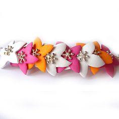 Braccialetto Flower Explosion - Moosgummi colorato e catena argentata
