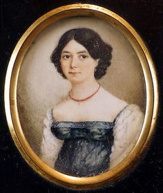 c.1840 Early Victorian Portrait Miniature of a Dark Haired Young Lady