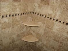 Photos of Pepe Tile Installation - Westville, NJ. ceramic tile shower with marble corner shelves-marlton,nj Corner Shower Tile, Bathroom Corner Shelf, Corner Tub, Corner Shelves, Bathroom Wall, Bathroom Ideas, Bathroom Stuff, Bathtub Tile Surround, Bath Shower Combination