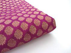 Purple gold flower silk brocade from India fabric nr door SilksByUmf