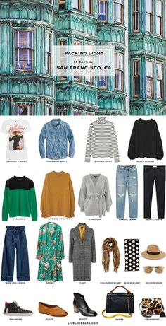 What to Pack for San Francisco Packing Light - Tracy Lopez What to Pack for San Francisco Packing Light Travel Capsule Wardrobe: 10 days in San Francisco in March. What to pack. Travel Wardrobe, Capsule Wardrobe, Italy In March, Travel Capsule, Travel Packing, Fall Packing, Travel Checklist, Travel Couple Quotes, Spring Outfits