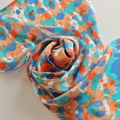 Silk Scarf - Sundance - Hand Painted Ladies Scarves Southwest Turquoise Blue Navy Orange Peach White Tie Dye on Etsy, $34.00