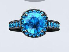 Modern 14k Black Gold and Blue Topaz Ring Engagement Ring Wedding Ring With 1.25ct Blue Topaz Center W14BU214BK on Etsy, $1,910.00