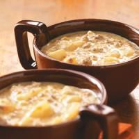 Cheeseburger Soup from Taste of Home.  My family and I LOVE this soup!  It is always a winner with guest too!