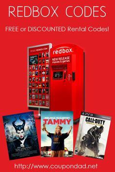 Redbox Codes for FREE or Discounted Rentals!   http://www.coupondad.net/redbox-free-rental-codes/   #redbox #codes