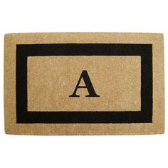 Heavy-duty Coir Single Black Picture Frame Monogrammed Doormat
