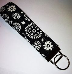 Fabric Covered Key Fob featuring Black and White by thenosweatshop, $6.00
