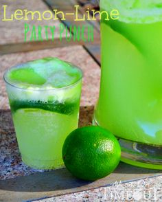 Lemon-Lime (HULK) Party Punch Recipe- real link to recipe! Party Drinks, Cocktail Drinks, Fun Drinks, Beverages, Cocktails, Cocktail Ideas, Cocktail Recipes, Drink Recipes, Refreshing Drinks