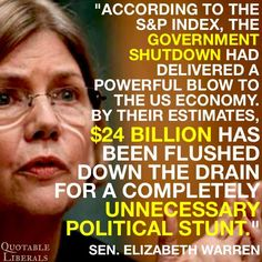 When they can't win, they shut the government. Now, why are we surprised the GOP nominates Donald Trump for president? Thats The Way, That Way, Government Spending, Heritage Foundation, Republican Party, Gop Party, Government Shutdown, Elizabeth Warren