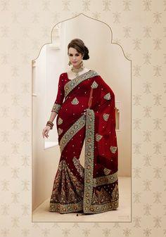 USD 69.16 Maroon Faux Georgette Resham Work Bridal Saree  32441