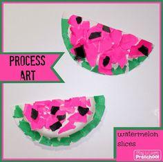 Watermelon Process Art - Play to Learn Preschool