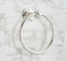 Sussex Collection Towel Ring | Pottery Barn. I like the look of stainless against the colored tile; cool and clean looking