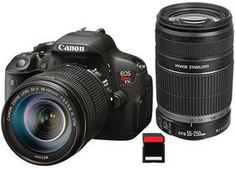 Canon EOS Rebel T5i DSLR Camera Kit with EF-S 18-135mm STM and 55-250mm Lenses.