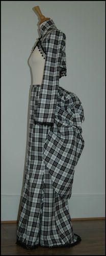 Nightshade black and white tartan bustle skirt & shrug victorian goth steampunk | eBay