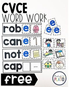 FREE CVCe Word Work Are you looking for a helpful tool to teach students about the silent E once and for all? These colorful word work cards are must-try! They are great literacy centers for kindergarten and first grade readers any time of the year. Centers First Grade, First Grade Phonics, First Grade Reading, First Grade Freebies, Kindergarten Reading, Teaching Reading, Guided Reading, Homeschool Kindergarten, Reading Skills