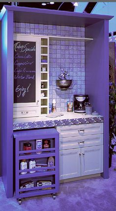easy made coffee bar area, kitchen, Do any color or design once you frame it in.