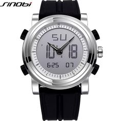 New SINOBI Brand Sport Watches For Men Waterproof Silicone Male Clock Digital Watch Men LED 2016 Luxury Watch Men Black Military - Watchesfixx Quartz Wristwatches
