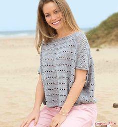 Летний пуловер в стиле оверайз. Спицы.