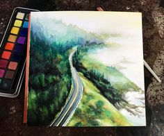 The misty Oregon coast : Watercolor